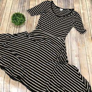 Lularoe | Tan Black Striped Jersey Nicole Dress L